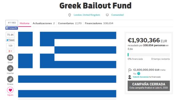 Crowdfunding Campaña Indiegogo Rescate Grecia